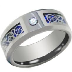 COI Titanium Dragon Beveled Edges Ring With Cubic Zirconia-JT3844