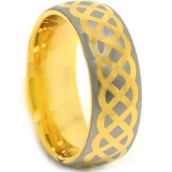 COI Gold Tone Titanium Celtic Dome Court Ring - 3876