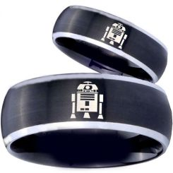 COI Titanium Black Silver R2D2 Beveled Edges Ring - 3918