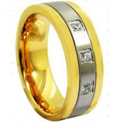 *COI Titanium Gold Tone Silver Ring With Cubic Zirconia- 3943