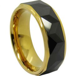 COI Titanium Black Gold Faceted Step Edges Ring - JT3984