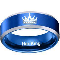 COI Titanium Blue Silver King Crown Beveled Edges Ring - JT3985