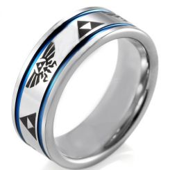 *COI Titanium Blue Silver Legend of Zelda Double Grooves Ring-JT5072