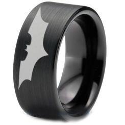 COI Black Titanium Batman Pipe Cut Flat Ring - JT4045
