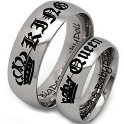 **COI Titanium King Queen Crown Dome Court Ring - JT4046