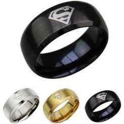 *COI Titanium Superman Beveled Edges Ring - JT4053