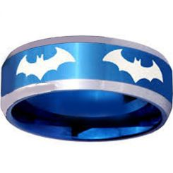 COI Titanium Blue Silver BatMan Beveled Edges Ring - JT4055