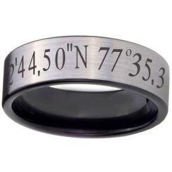COI Titanium Custom Coordinate Pipe Cut Flat Ring-JT5095