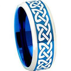 COI Titanium Blue Silver Celtic Beveled Edges Ring - 4059