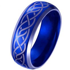 *COI Titanium Blue Silver Celtic Beveled Edges Ring-JT3299