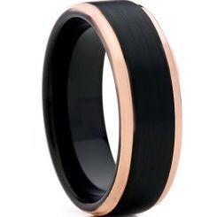 **COI Titanium Black Rose Step Edges Ring - JT3301