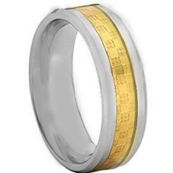 COI Titanium Beveled Edges Ring With Carbon Fiber - JT4105