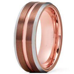 COI Titanium Espresso Rose Center Groove Beveled Edges Ring-4217