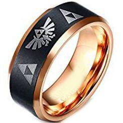 COI Titanium Black Rose Legend of Zelda Beveled Edges Ring-4253