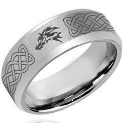 *COI Titanium Wolf Celtic Beveled Edges Ring - 4261