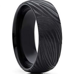 COI Black Titanium Damascus Dome Court Ring - 4281
