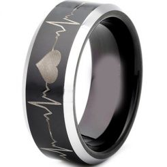*COI Titanium Black Silver Heartbeat Beveled Edges Ring-JT3503