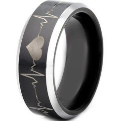 *COI Titanium Black Silver Heartbeat Beveled Edges Ring-JT3503