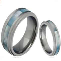 COI Titanium Step Edges Ring With Abalone Shell - JT3858