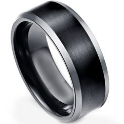 *COI Titanium Black Silver Beveled Edges Ring - JT3869