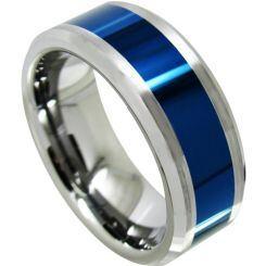 COI Titanium Blue Silver Beveled Edges Ring - JT3524