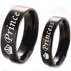 COI Black Titanium Prince Princess Crown Pipe Cut Ring - 4331