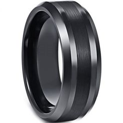 *COI Black Titanium Center Line Beveled Edges Ring - 3861