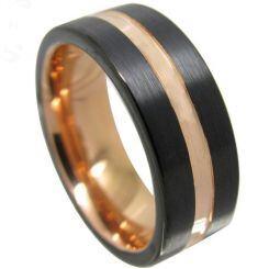 COI Titanium Black Rose Center Groove Ring - JT3562