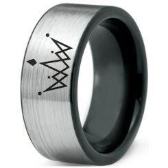 COI Titanium Black Silver King Crown Pipe Cut Flat Ring-4356