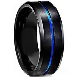 COI Titanium Black Blue Center Groove Beveled Edges Ring-JT4114