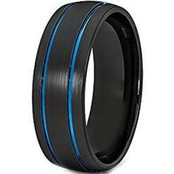 **COI Titanium Black Blue Double Grooves Dome Court Ring-JT3587
