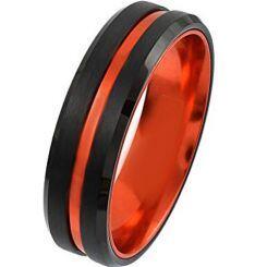 COI Titanium Black Orange Center Groove Beveled Edges Ring-4395