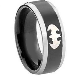 *COI Titanium Black Silver Batman Beveled Edges Ring - JT3628