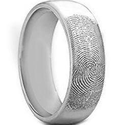 COI Titanium Custom FingerPrint Dome Court Ring - 4418
