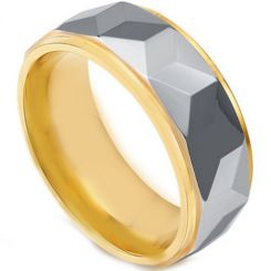 COI Titanium Gold Tone Silver Faceted Step Edges Ring - JT2676AA