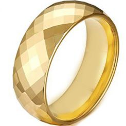 COI Gold Tone Titanium Faceted Wedding Band Ring - JT4109