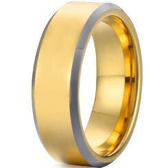 *COI Titanium Gold Tone Silver Beveled Edges Ring - JT2055AA