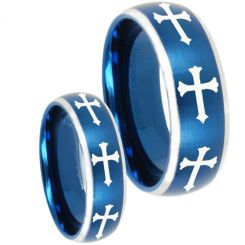COI Titanium Blue Silver Cross Beveled Edges Ring - 4524