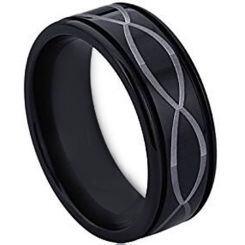 COI Black Titanium Infinity Step Edges Ring - JT3751