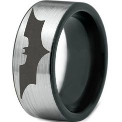 *COI Titanium Black Silver Batman Pipe Cut Flat Ring - JT3787