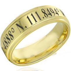 COI Gold Tone Titanium Custom Coordinate Step Edges Ring - 4629