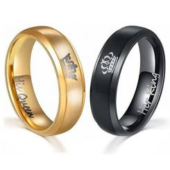 *COI Titanium Black/Gold Tone King Queen Crown Ring-JT4020