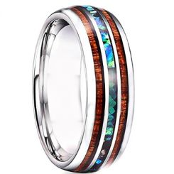 COI Titanium Wood & Abalone Shell Dome Court Ring - 4727