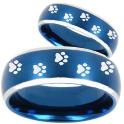 COI Titanium Blue Silver Paws Print Beveled Edges Ring-4748