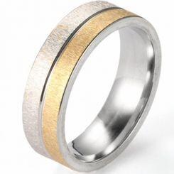 COI Titanium Gold Tone Silver Sandblasted Ring - 5223