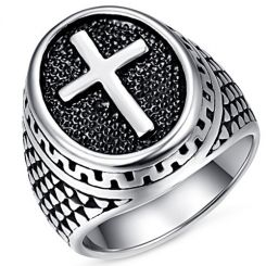 COI Titanium Cross Signet Ring-5228