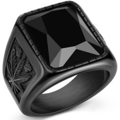 COI Black Titanium Ring With Cubic Zirconia-5234