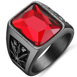 COI Black Titanium Ring With Created Red Ruby-5235