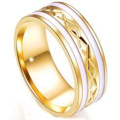 COI Gold Tone Titanium Ring With White Ceramic-5242