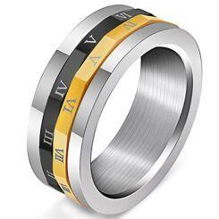 COI Titanium Black Silver Gold Tone Roman Numerals Ring-5247